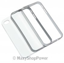 XQISIT CUSTODIA ORIGINALE COVER IPLATE FRAME PER APPLE IPHONE 4 - 4S WHITE-GREY