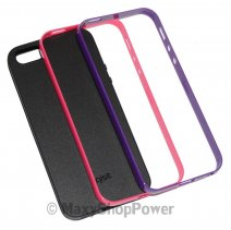 XQISIT CUSTODIA IPLATE FRAME APPLE IPHONE 5 - 5S - SE BLACK PURPLE-PINK