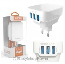LDNIO CARICABATTERIE CASA ORIGINALE DL-AC65 3X USB UNIVERSALE 17W WHITE /PER IPHONE GALAXY ANDROID