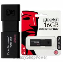 KINGSTON PEN DRIVE 100 G3 CHIAVETTA USB 3.1 - 3.0 - 2.0 16GB DATATRAVELER BLACK
