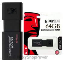 KINGSTON PEN DRIVE 100 G3 CHIAVETTA USB 3.1 - 3.0 - 2.0 64GB DATATRAVELER BLACK