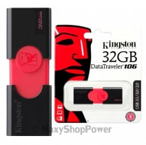 KINGSTON PEN DRIVE 106 CHIAVETTA USB 3.1 - 3.0 - 2.0 32GB DATATRAVELER BLACK