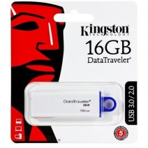 KINGSTON PEN DRIVE G4 CHIAVETTA USB 3.1 - 3.0 - 2.0 16GB DATATRAVELER WHITE-BLU