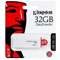 KINGSTON PEN DRIVE G4 CHIAVETTA USB 3.1 - 3.0 - 2.0 32GB DATATRAVELER WHITE-RED