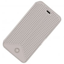 MERCEDES CUSTODIA REAL LEATHER FLIP COVER PERFORATED PER SAMSUNG GALAXY S6 G920F GREY