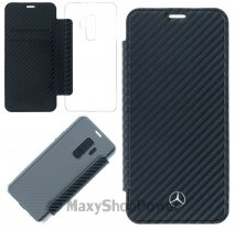 MERCEDES CUSTODIA REAL LEATHER FLIP COVER DYNAMIC PER SAMSUNG GALAXY S9 G960 CARBON BLACK