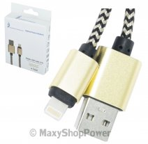 ATRAX CAVO DATI E RICARICA USB TO 8-PIN 1 METRO CONNETORI METALLICI GOLD /PER IPHONE 5 6 7 8 PLUS