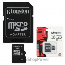 KINGSTON MEMORY CARD MICROSD HC 16 GB + ADATTORE CLASSE 4