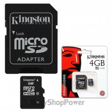 KINGSTON MEMORY CARD MICROSD HC 4 GB + ADATTATORE SD CLASSE 4